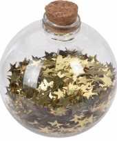 6x kerstballen transparant goud 8 cm met gouden sterren kunststof kerstboom versiering decoratie