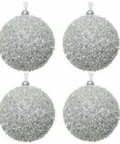 6x kerstballen zilver sneeuwbal 8 cm met glitterskunststof kerstboom versiering decoratie