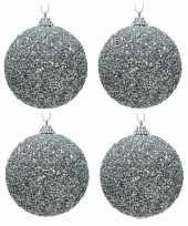 6x kerstballen zilveren glitters 8 cm met kralen kunststof kerstboom versiering decoratie