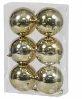 6x kunststof kerstballen glanzend goud 10 cm kerstboom versiering decoratie
