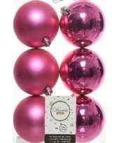 6x kunststof kerstballen glanzend mat fuchsia roze 8 cm kerstboom versiering decoratie fuchsia roze