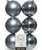 6x kunststof kerstballen glanzend mat grijsblauw 8 cm kerstboom versiering decoratie