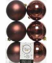 6x kunststof kerstballen glanzend mat mahonie bruin 8 cm kerstboom versiering decoratie