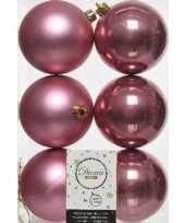 6x kunststof kerstballen glanzend mat oud roze 8 cm kerstboom versiering decoratie