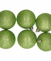 6x kunststof kerstballen glitter appelgroen 8 cm kerstboom versiering decoratie