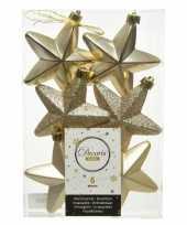 6x kunststof sterren kerstballen glans mat glitter champagne 7 cm kerstboom versiering decoratie