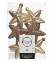 6x kunststof sterren kerstballen glans mat glitter donker parel champagne 7 cm kerstboom versiering decoratie