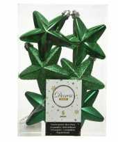 6x kunststof sterren kerstballen glans mat glitter kerst groen 7 cm kerstboom versiering decoratie