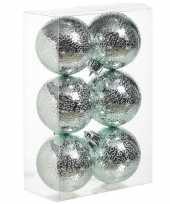 6x mintgroene cirkel motief kerstballen 6 cm kunststof