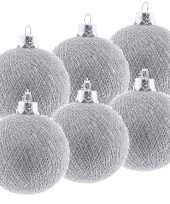 6x zilveren cotton balls kerstballen decoratie 6 5 cm