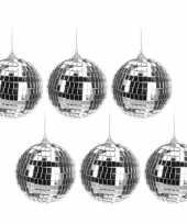 6x zilveren disco kerstballen 10 cm