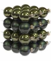 72x donker groene glazen kerstballen 4 cm mat glans