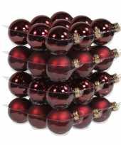 72x donkerrode glazen kerstballen 4 cm mat glans