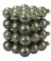 72x graniet groene glazen kerstballen 4 cm mat glans