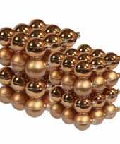 72x stuks glazen kerstballen koper 4 en 6 cm mat glans