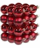 72x stuks glazen kerstballen rood 4 cm mat glans