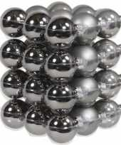 72x titanium grijze glazen kerstballen 4 cm mat glans