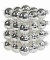 72x zilveren glazen kerstballen 4 cm glans