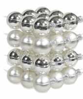 72x zilveren glazen kerstballen 4 cm mat glans