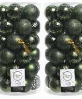 74x kunststof kerstballen mix donkergroen 6 cm kerstboom versiering decoratie