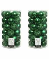 74x kunststof kerstballen mix kerst groen 6 cm kerstboom versiering decoratie