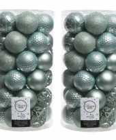 74x kunststof kerstballen mix mintgroen 6 cm kerstboom versiering decoratie