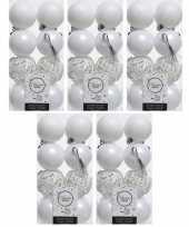 80x kunststof kerstballen mix winter wit 6 cm kerstboom versiering decoratie