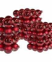 88x stuks glazen kerstballen rood 4 6 en 8 cm mat glans