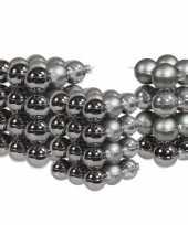 88x stuks glazen kerstballen titanium grijs 4 6 en 8 cm mat glans