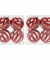 8x draad kerstballen rood met glitter 8 cm van kunststof plastic