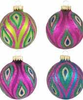 8x glazen glitter kerstballen in vrolijke kleuren 7 cm