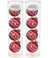 8x glazen kerstballen met rendieren print 6 cm