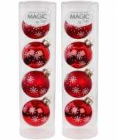 8x glazen kerstballen met sneeuwvlok print 6 cm