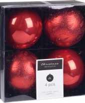 8x kerstboomversiering luxe kunststof kerstballen rood 10 cm