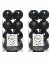 96x kunststof kerstballen glanzend mat zwart 4 cm kerstboom versiering decoratie