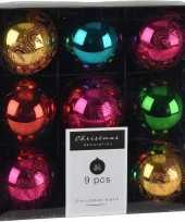 9x kerstboomversiering luxe kunststof kerstballen gekleurd 5 cm