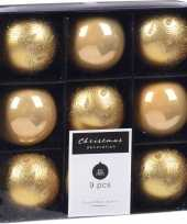 9x kerstboomversiering luxe kunststof kerstballen goud 5 cm