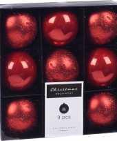9x kerstboomversiering luxe kunststof kerstballen rood 6 cm