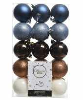Blauw wit bruine kerstballen set 6 cm