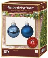 Blauwe kerstballen pakket 97 delig christmas basic blue glass