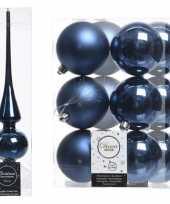 Blauwe kerstversiering kerstdecoratie set piek en 12x kerstballen 8 cm glans mat