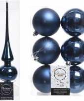 Blauwe kerstversiering kerstdecoratie set piek en 6x kerstballen 8 cm glans mat