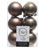 Bruine kerstballen van kunststof 6 cm
