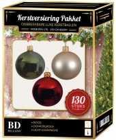 Champagne donkergroene rode kerstballen pakket 130 delig voor 180 cm boom