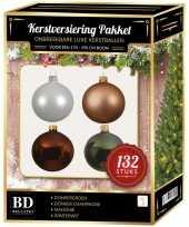 Champagne wit bruine groene kerstballen pakket 132 delig voor 180 cm boom
