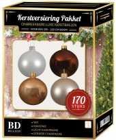 Champagne wit bruine kerstballen pakket 170 delig voor 210 cm boom