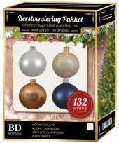 Champagne wit parel donkerblauwe kerstballen pakket 132 delig voor 180 cm boom