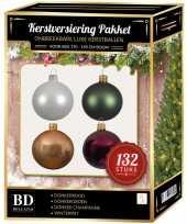 Champagne wit rood groen kerstballen pakket 132 delig voor 180 cm boom
