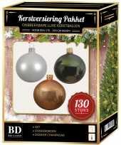 Champagne witte groene kerstballen pakket 130 delig voor 180 cm boom