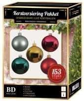 Complete kerstballen set gekleurd 153 delig goud rood roze mint turquoise